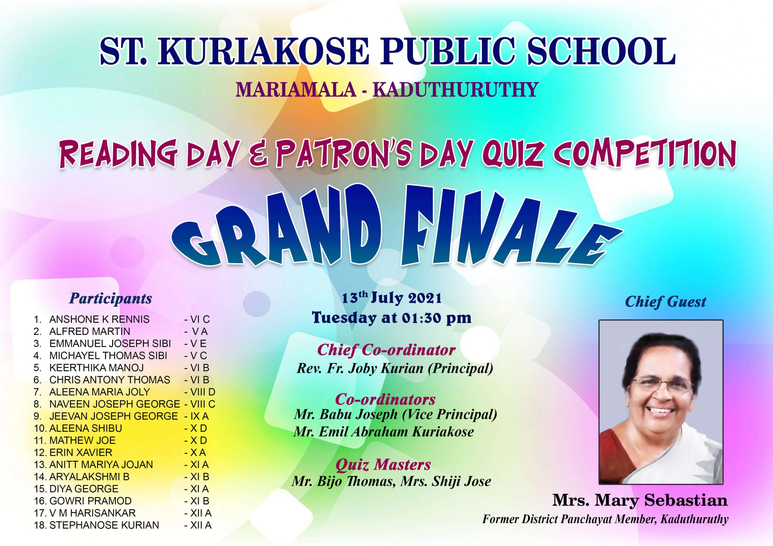 SKPS READING DAY & PATRON'S DAY QUIZ COMPETITION 2021-22